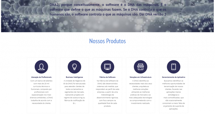 Site DNA2 Software – Dna2software.com.br
